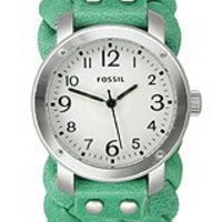 Fossil Women's Green Woven Leather Cuff Band Watch Jr1305