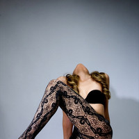 Deco Flora Vintage Lace Tights Floral Pattern - Avail. in 2 colours: Charcoal & Plum