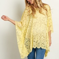 Yellow-Floral-Lace-Maternity-Poncho-Top