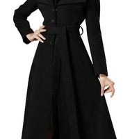 FRDX ladies Fashion Fit Dovetail Collar Belted Solid Color Long Wool Coat