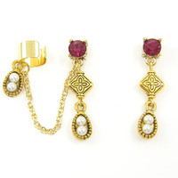 Ruby Hot Pink Ear Cuff with Tribal Bead and Pearl Drop in Antique Gold
