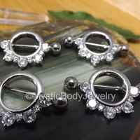 "Nipple Piercing Shield 14g 1.6mm Pair Silver Barbell Rings 3/8"" 10mm Clear Gemstones Body Jewelry Set Nipples Ring 5mm Gems Piercings Bar"