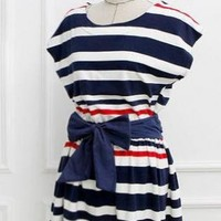 Striped Sailor Dress with Bowknot for Women