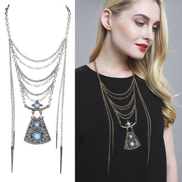 Turquoise Tassel Long Paragraph Layered Clothing Chain