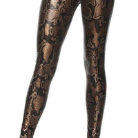 Faux Leather Boa Constrictor Leggings Design 437