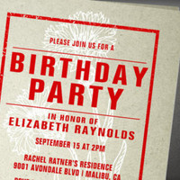 red flowers birthday party invitations invitationsnob on Etsy, a global handmade and vintage marketplace.
