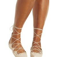 Nude Grommet-Embellished Lace-Up Pointed Toe Flats by Charlotte Russe
