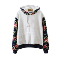 Mebarra Women Thick Warm Floral Printed Long Sleeve Hooded Pullover Sweatshirt