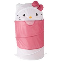 Hello Kitty Dome Top Laundry Hamper with 3d Ears and Bow Round Hamper (White) - Pop up Laundry Hampers - Kids Hamper