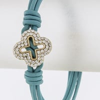 Clover Accent and Turquoise Leather Bracelet