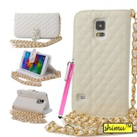 Galaxy S5 Case, Samsung Galaxy Leather Case,By Shimu Rhinestone Folio Leather Case Pearl Sling Grid Pattern Handbag Diamond Pendant Button Card Slots Wallet Case For Samsung Galaxy S5 I9600 White