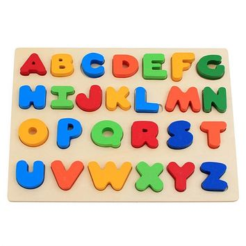 Colorful A to Z Alphabet Capitalized Letters Wooden Puzzles Jigsaw For Toddlers Educational Preschool Toys Game Development  Intelligence Kids Gift