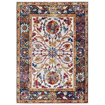 Entourage Samira Distressed Vintage Floral Persian Medallion 8x10 Area Rug