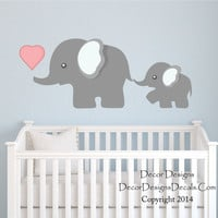 Elephant Wall Decal, by Decor Designs Decals, Nursery Wall Decal, Mom and Baby Elephant Decal, Elephants Decal Sticker, Animal Decal, Nursery Decals- Kids Decal P41
