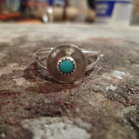 Authentic Navajo,Native American,Southwestern sterling silver turquoise Navajo button ring.Made to order.