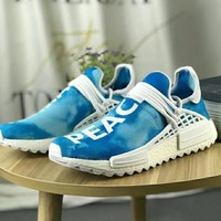 """""""Adidas"""" NMD Human Race Casual Women And Men Fashion Trending Running Sports Letter Print Shoes Sneakers Contrast Color Blue"""