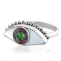 Bling Jewelry Sterling Silver Mother of Pearl and Mystic Topaz Color Evil Eye Ring