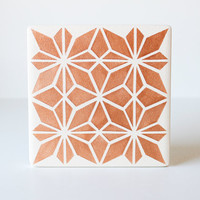 Copper Geometric Coasters Hand Painted Copper and White Ceramic Tile Coasters (Fall Coasters, Birthday, Bridal Party, Gift)