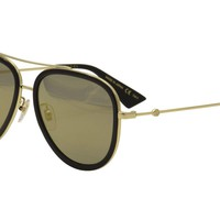 Gucci Women's GG0062S GG/0062/S 001 Gold/Black Retro Pilot Sunglasses 57mm