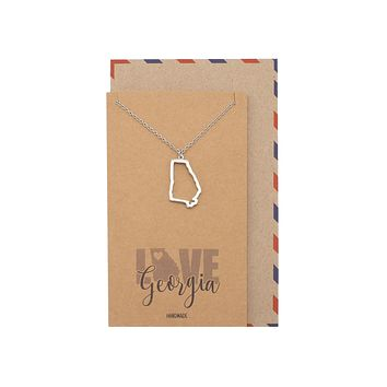 Sienna Giorgina Map Necklace for Women with Greeting Card - Silver Tone