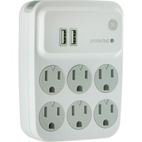 Ge 6-outlet Surge Protector With 2 Usb Charging Ports