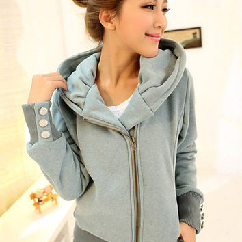 Buttoned Cuff Sleeve Zip Up Hooded Jacket