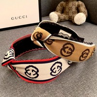 GUCCI new women's knitted jacquard logo knotted letter wide headband