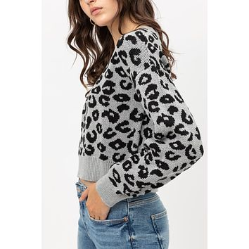 Cozy Knitted Long Sleeve Leopard Print Cropped Sweater Top