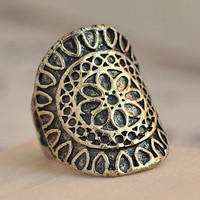 SALE! Gothic Medieval Unisex Big Bronze Ring With Carved Flower Pattern