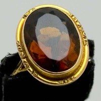 Vintage 1900\'s Amber Colored Stone in Edwardian 10k Setting Size 6 ... | beyondthelillypad - Jewelry on ArtFire