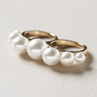 Pearled Two-Finger Ring by Anthropologie Pearl One Size Jewelry