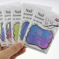 The New 5 Colors Aurora Nail Stickers Magic Irregular Glass Manicure Decal Fashion Nail Necessary Accessories JH276