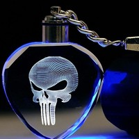LED Skull Logo Skeleton Movie Mask Fashion Keychain Cool  Skull Key Rings For Men's Gift