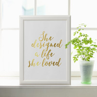 Girl Boss She Designed A Life She Loved Print Printable Download Home Office Wall Art Gallery Wall Decor Motivational Print INSTANT DOWNLOAD