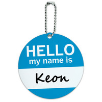 Keon Hello My Name Is Round ID Card Luggage Tag