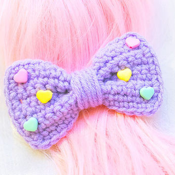Lavender with Candy Hearts Crochet Bow Clip