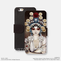 Beijing Opera Oil Paiting iPhone Samsung Galaxy leather wallet case cover 023