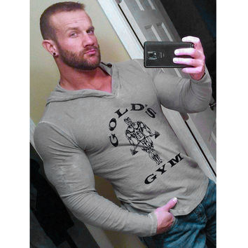 Mens Bodybuilding Hoodies Golds Gyms Clothing Workout Slim Fit Sweatshirts Men Hooded Suits Tracksuit Sportswear Cotton GASP