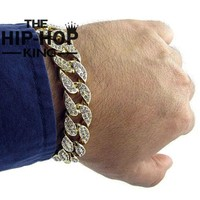 Simulated Diamond High Quality Gold Plated Iced Out Miami Cuban Bracelet Hip Hop