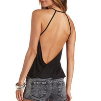 TWISTED STRAPPY BACKLESS HALTER TOP