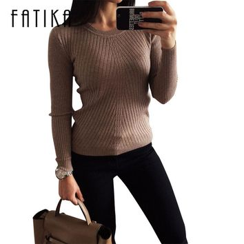 FATIKA Womens Autumn Winter Cashmere Blended Sweater O-Neck Pullovers Long Sleeve Jumpers Women's Knitted Sweaters