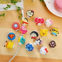 Dehyaton Cute Bow tie Protector For iPhone USB Charging Data Line Cord Protector Protective Case Cable Winder Cover 25 styles