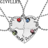 """4pcs/set """"best friend forever and ever"""" BFF Friend Pendant Necklace Set 4 Pieces Heart Shape Hand Stamped Friendship Jewelry"""