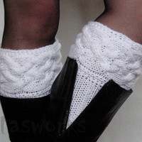White Boot Cuff Boot Toppers Leg Warmers Valentine's day gift Boot Socks Knit Legwarmers Cable Knitted