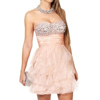 Aurelie- Peach Jeweled Prom Dress