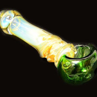 """Glass Pipe 5"""" long with green bowl and silver fumed body"""