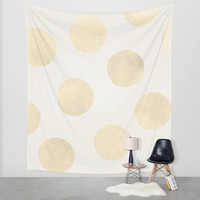 Gold Polka Dots Wall Tapestry by Georgiana Paraschiv