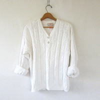 Vintage cotton henley sweater. white cable knit sweater. Button front sweater. simple baggy preppy sweater. women's size M L
