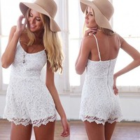 OURS Womens Lace Floral Strapped Rompers Sleeveless Jumpsuits