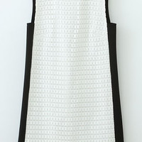 Black and White Sleeveless Shift Dress with Embroidery Details